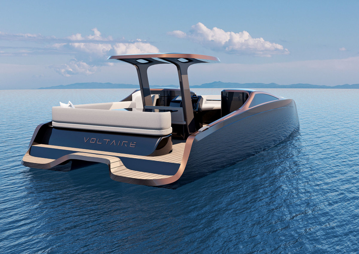 The all-electric Voltaire 33 Sky utilizes flax fiber in a bioepoxy resin that can be fully recycled when the power cat is no longer in use.