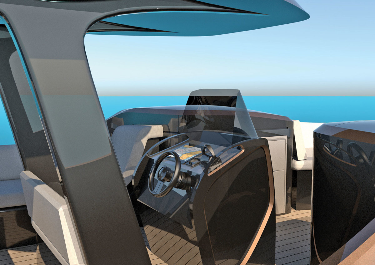 Recyclable materials are also incorporated into the helm, hardtop and other features.
