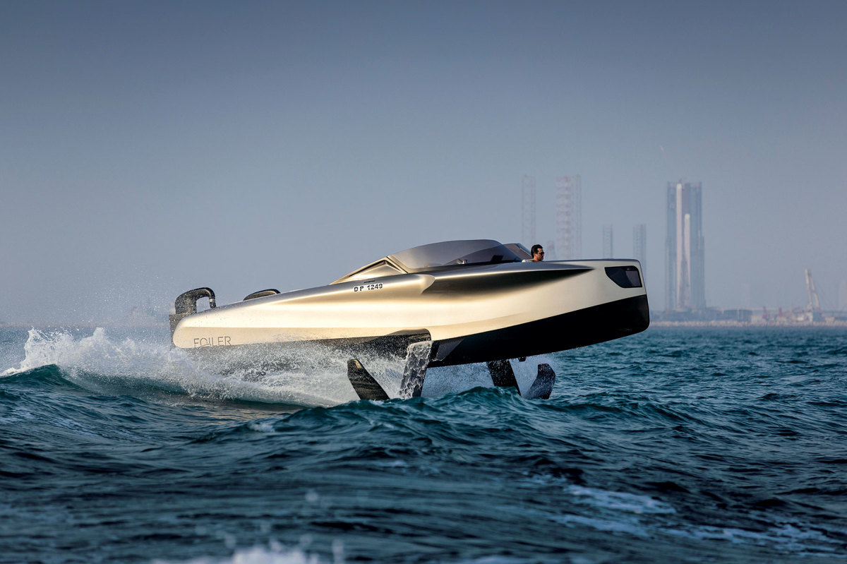 Dubai-based Enata Marine's Foiler is capable of hitting 40 knots, powered by a hydrostatic system mated to twin, 370-hp diesels.