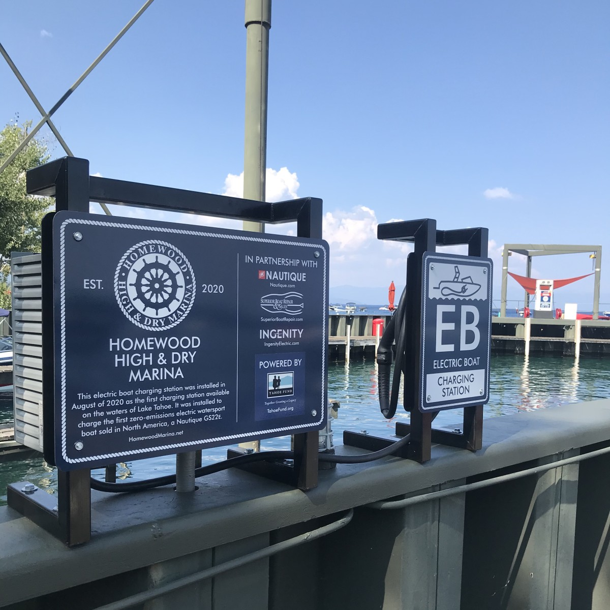 The e-charging station is on Lake Tahoe.