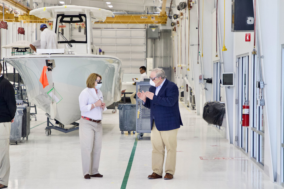 Maxwell leads a tour of Regulator Marine's facility with Secretary of the Interior David Bernhardt.