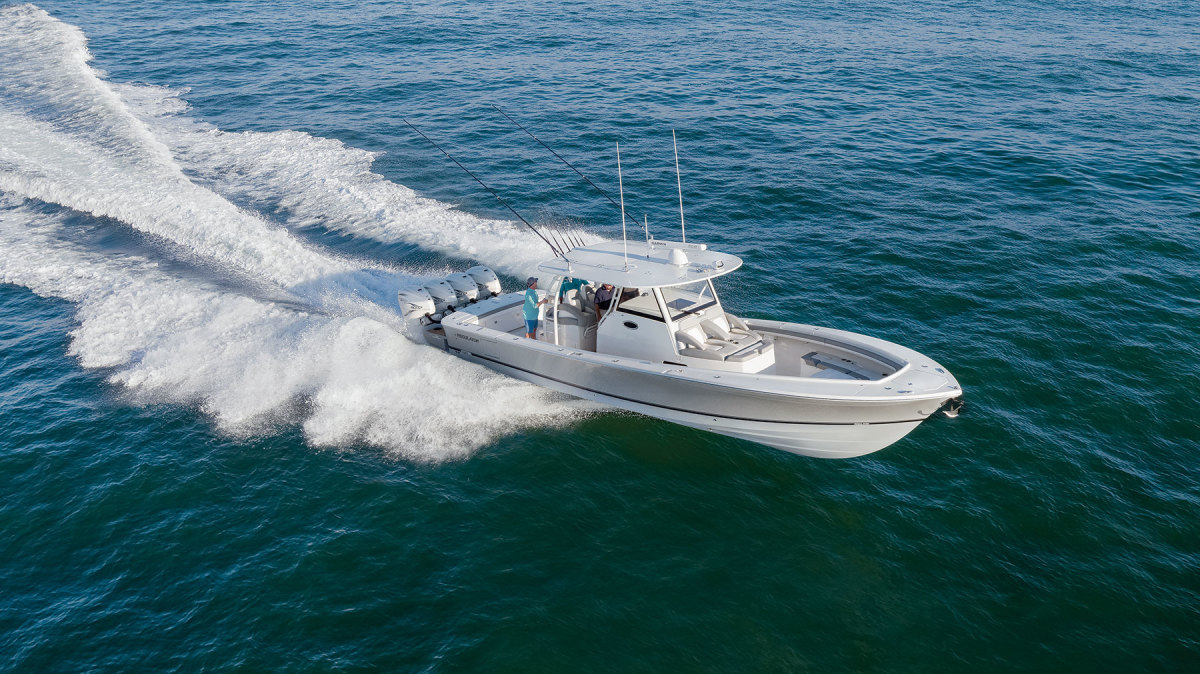 The flagship Regulator 41 was designed by naval architect Lou Codega, who has penned every Regulator model.