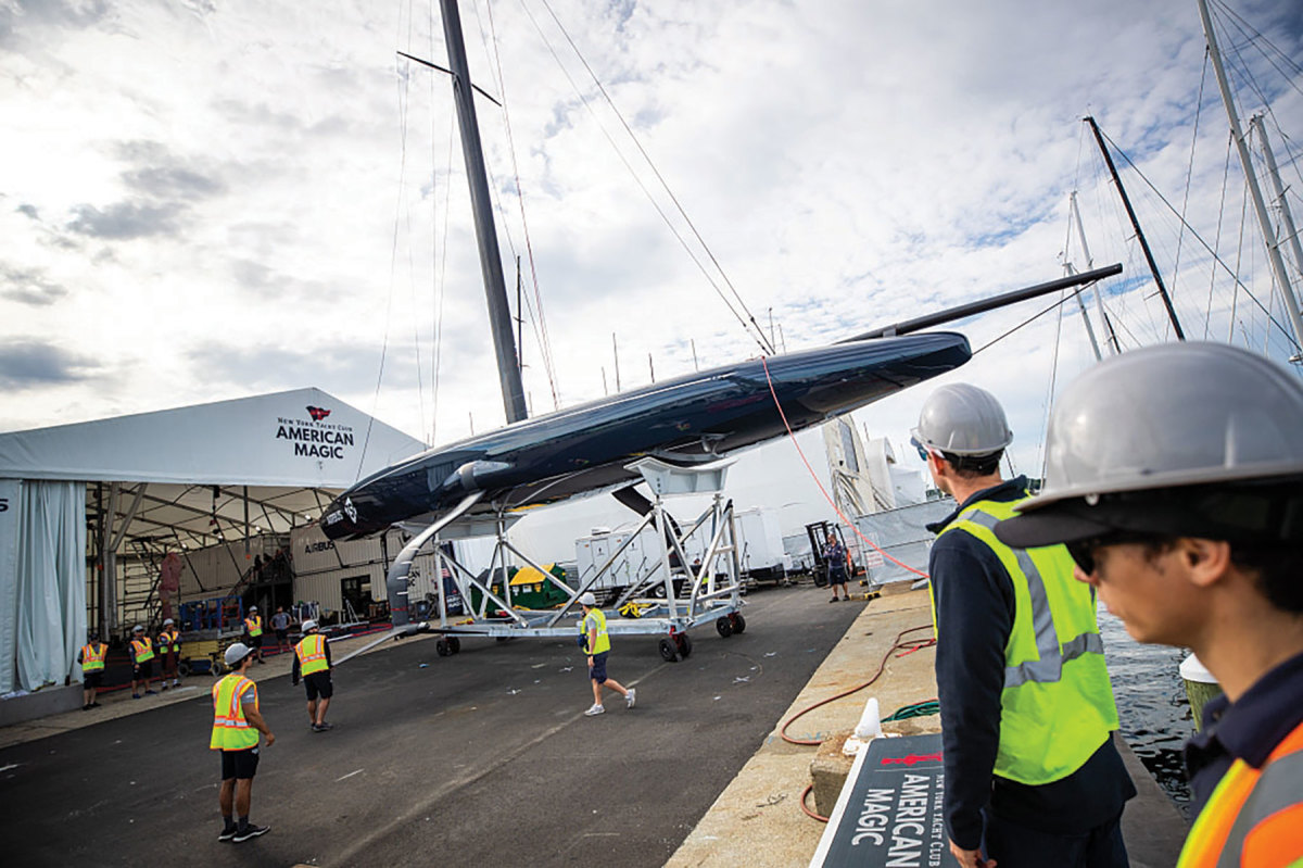 Launched in fall 2019 from the Melville complex in Portsmouth, the AC75 Defiant is one of two America's Cup boats built there.