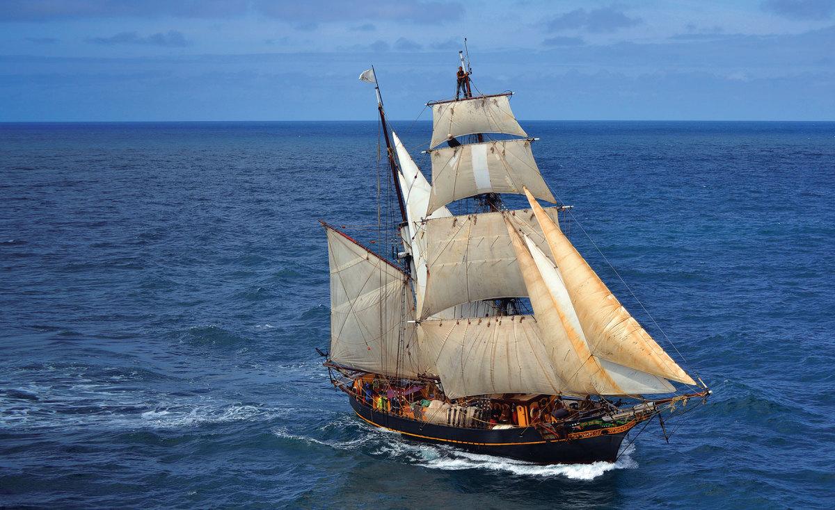 The engineless cargo vessel Tres Hombres is a converted World War II motorship.