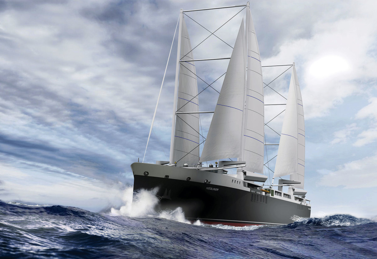 Neoline's design features a double main, with two overlapping sails forward and two slightly smaller ones aft.
