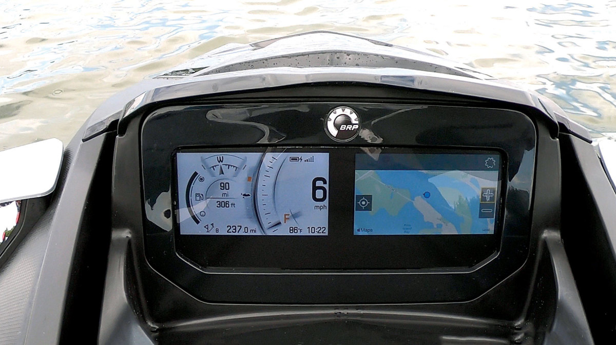 The GTX Limited model's 7.8-inch-wide display pairs with smartphone apps to  display maps and other information