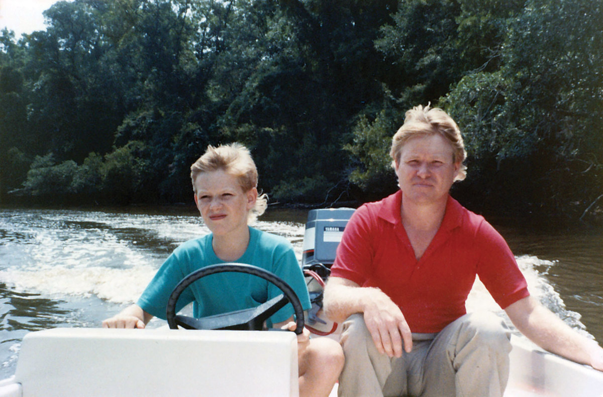 LIKE FATHER, LIKE SON: Stevie Potts was  bitten by the boating bug at a Young age.