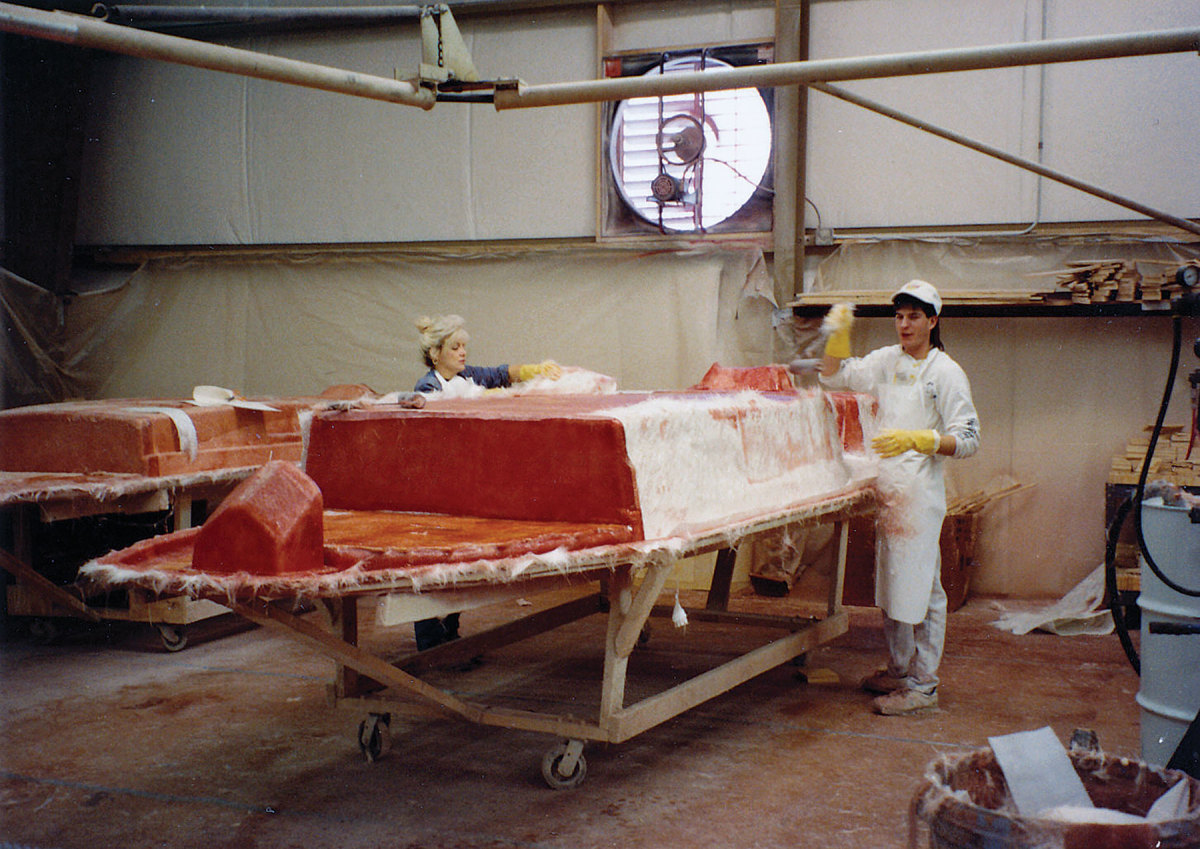 Early Scout models were built of hand-laid fiberglass. The builder now uses epoxy for its larger boats.