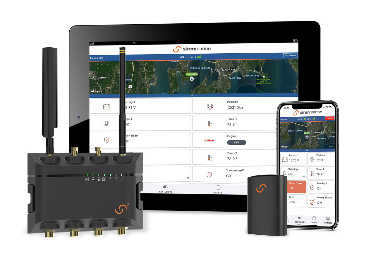 Siren Marine's new 3 Pro hub has two harnesses with 24 inputs and up to 15 wireless sensors, as well as built-in NMEA connectivity and 2/47 access via any  connected device.
