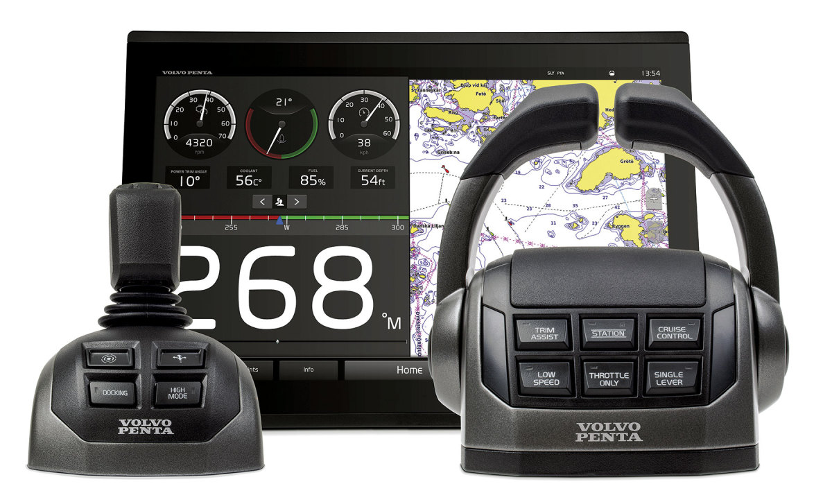 Volvo Penta's Easy Boating initiativecomprises such elements as an integrated touchscreen dash and joystick control.