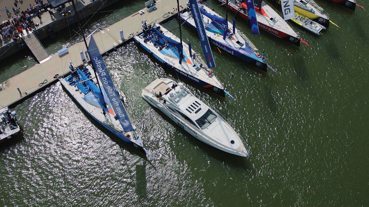 The company introduced a self-docking system in 2018 by squeezing a 68-foot Azimut  between Volvo Ocean Race boats.