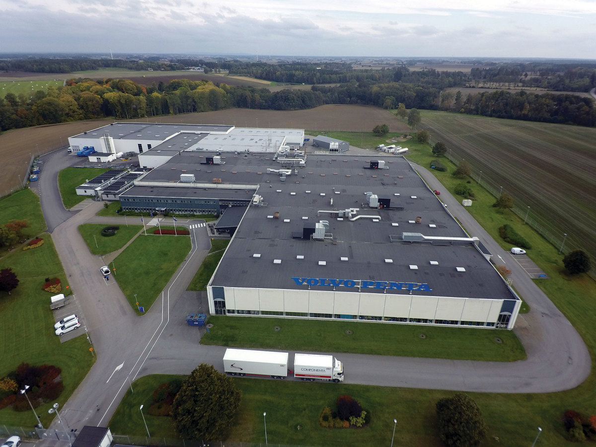 The company's carbon-neutral facility in Vara, Sweden, mass-produces diesel engines, including the new D4 and D6.