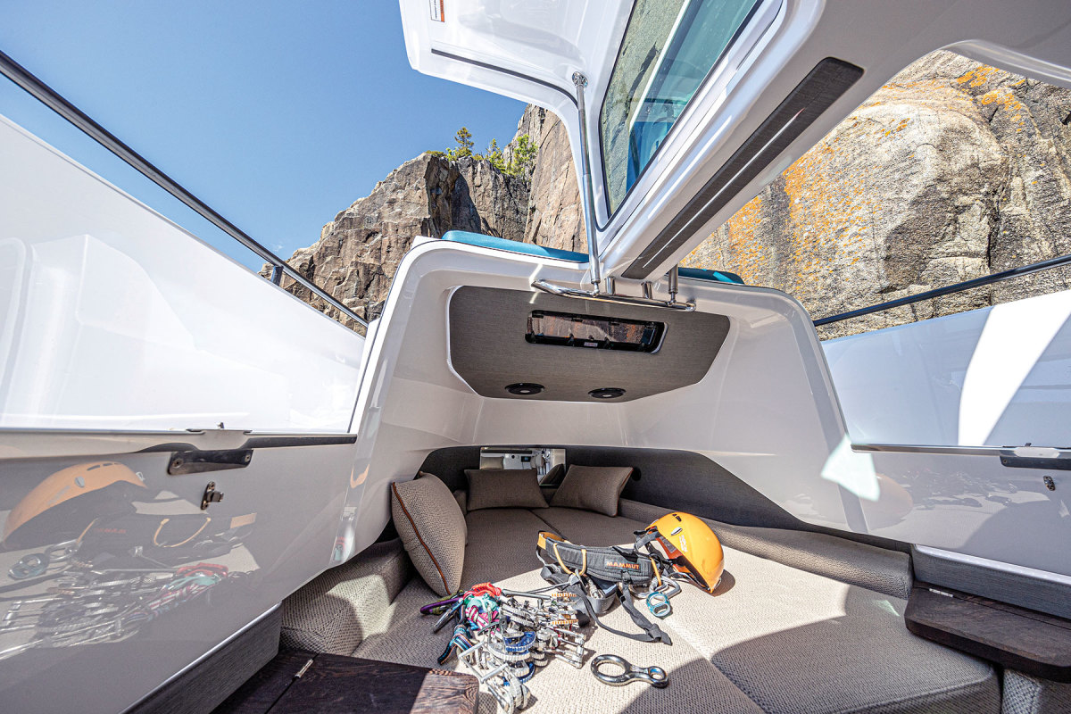 Gull-wing-style doors on the 37 provide shade when they're open and allow air to flow through the cabin.