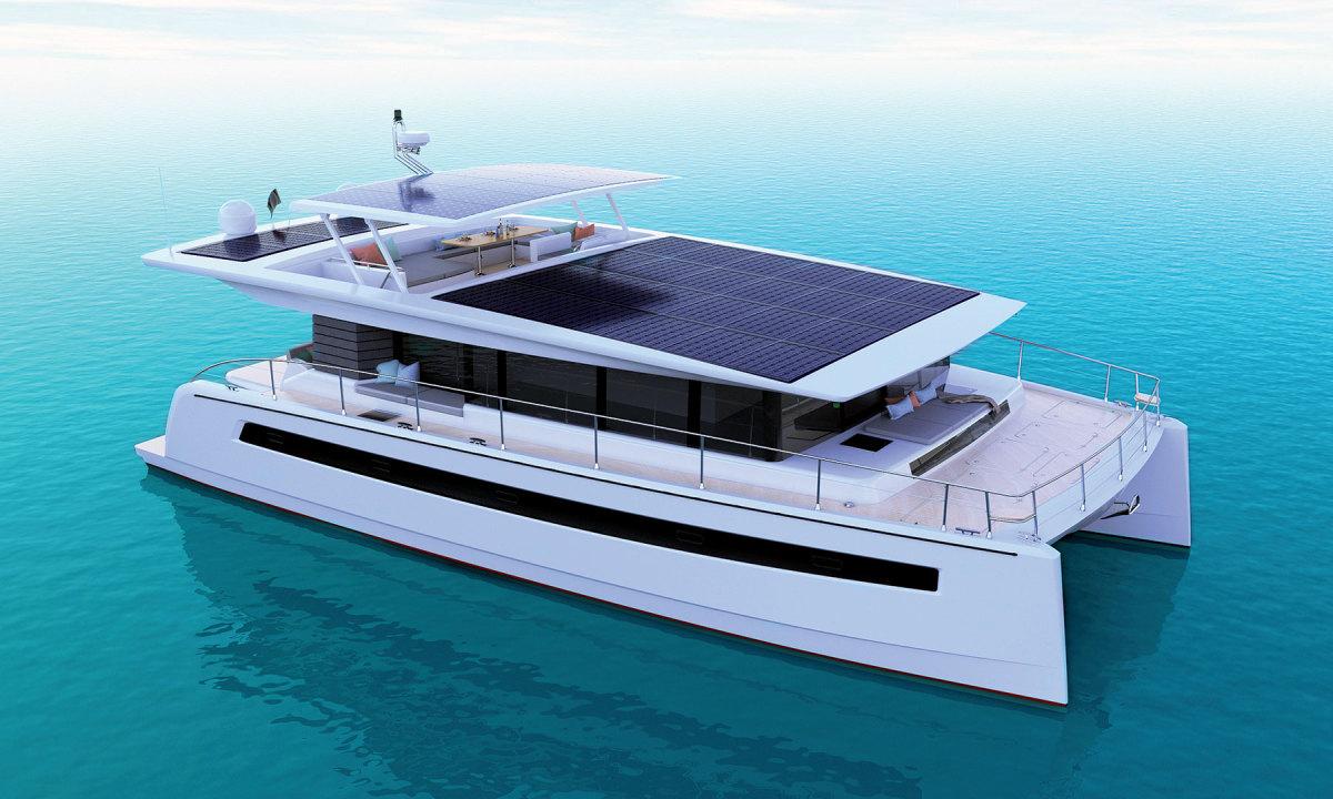 Silent's 60-foot catamaran platform has ample space for solar panels.