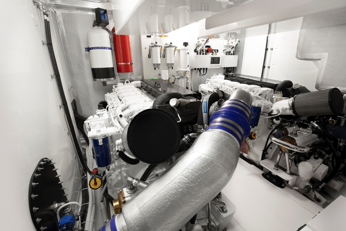 The X50R's engine room with Scania power.