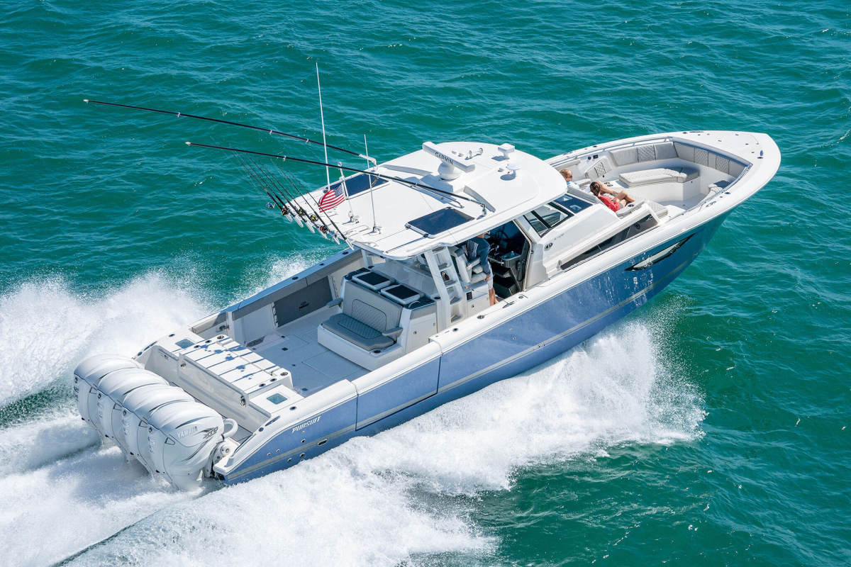The S 428 is the flagship of the Pursuit Yachts fleet.