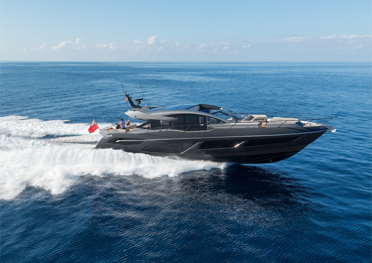 The Predator 74 with dark gray hull and color-matched silver superstructure.
