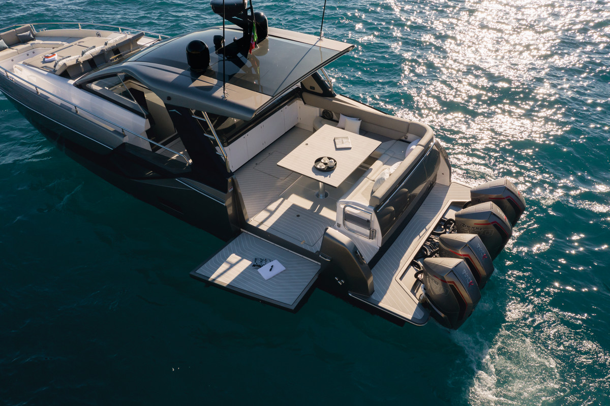 The Azimut Verve 47 is equipped with four 450-hp Mercury Racing outboards.