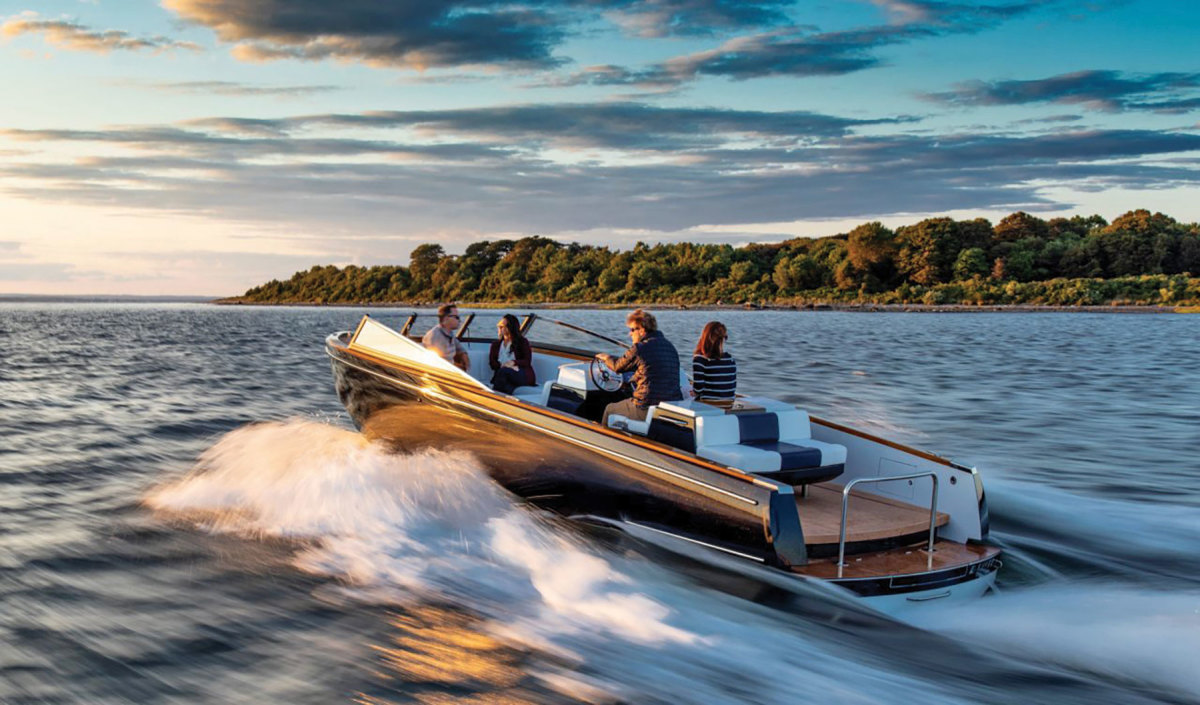 Peters says the high costs and low range of all-electric boats mean they're not quite ready for prime time (Hinckley Dasher shown).