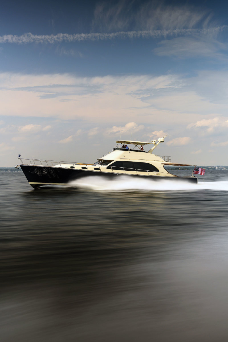 The Down East-inspired 70-footer is the flagship of the Palm Beach Motor Yachts line.