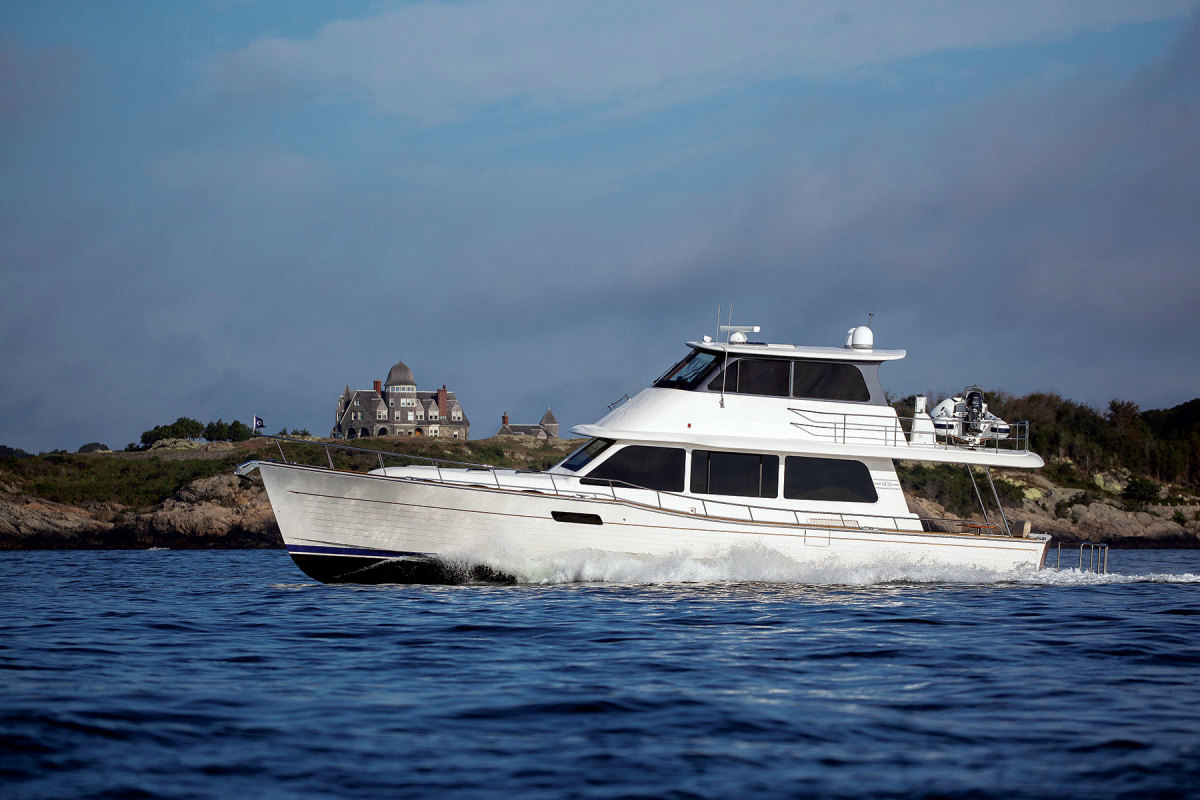 Grand Banks' 60 Skylounge. Like the 54, it's available in both enclosed and open flybridge versions.