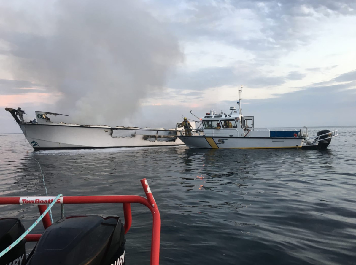 Emergency responders tried to stabilize the vessel to tow back to the mainland when it quickly sunk. Photo courtesy of Paul Amaral, an emergency responder.