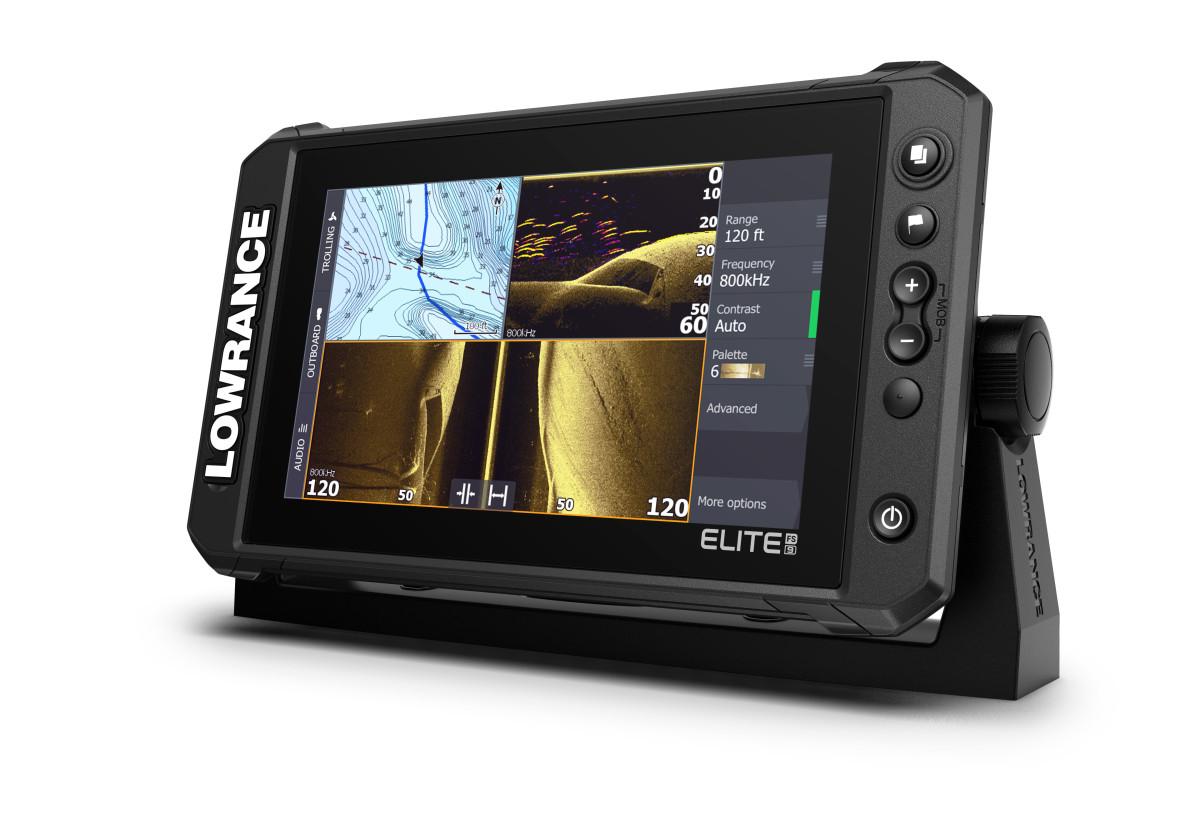 The latest introduction in Lowrance's line-up of mid-range fishfinder/chartplotter displays, the Elite Fishing System, or FS, has new, high-res ActiveTarget Live Sonar and Active Imaging with Lowrance CHIRP Sonar, SideScan and DownScan Imaging to preloaded C-MAP Contour+ Fishing Maps.