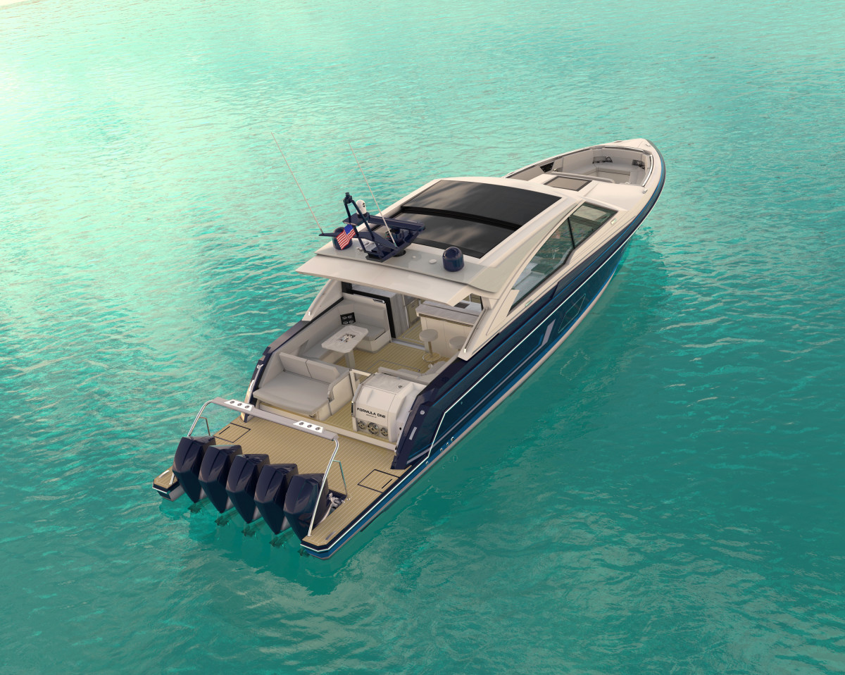 The 71 square-foot swim platform is flanked with two, fold-down boarding ladders, drink holders, speakers and subwoofer and a dedicated spot for a Seabob.