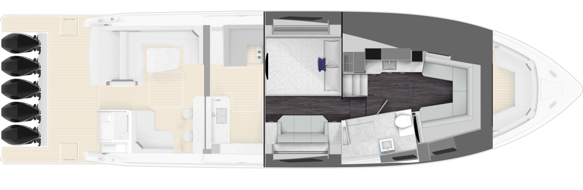 There's substantial room belowdecks — a full galley and stateroom with queen berth set off the area.