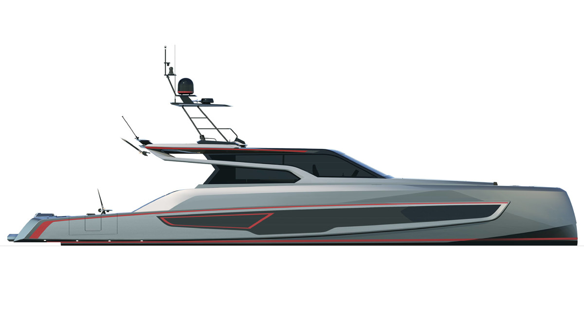 Powered by twin Cat C32s yielding 4,800 hp and paired to surface drives, the VQ80 SportFish is expected to hit speeds in excess of 50 knots.