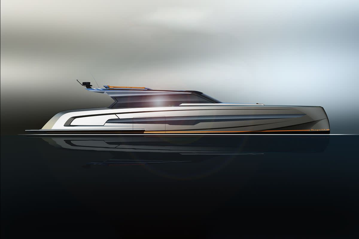 The builder says the VQ115 is slated to be world's fastest aluminum superyacht — over 50 knots — with conventional power. It will have triple MTU-Rolls-Royce engines and surface drive propulsion.