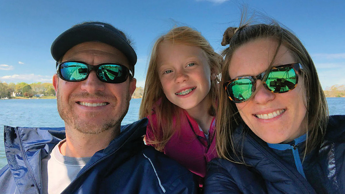"""Michael, Isla and Stephanie spend a lot of weekends at a  sandbar near their Virginia home. """"I love being on the water,"""" she says,  """"and I find my most peaceful, calm times when I'm out."""""""