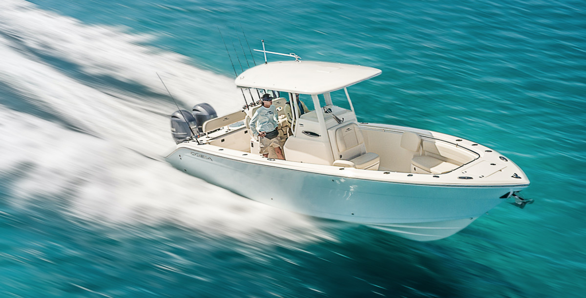 Cobia boats complement Pursuit, the offshore brand that Malibu Boats acquired in 2019 (Cobia 262 shown).