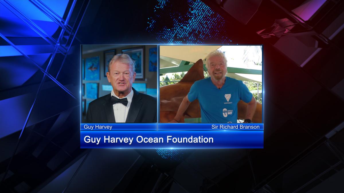 Guy Harvey welcomes Sir Richard Branson to the virtual fundraiser.
