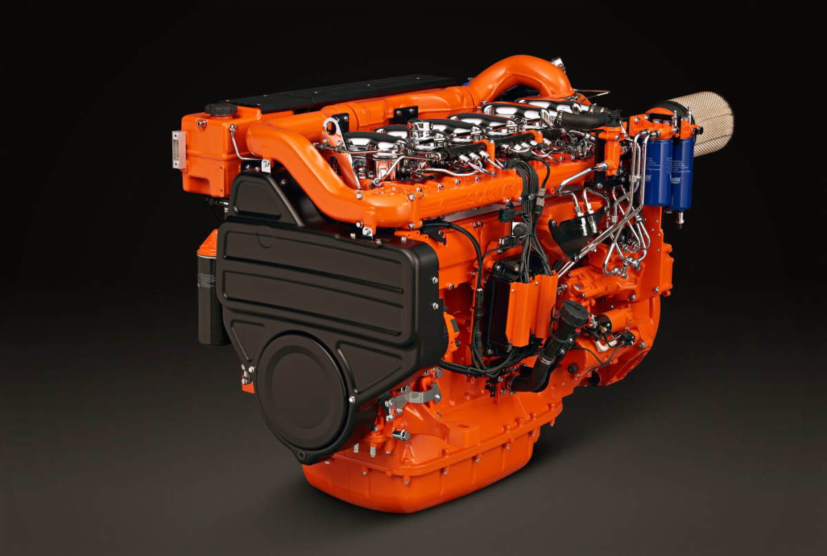 Scania diesels have compacted graphite iron blocks and wastegate turbochargers to save weight.