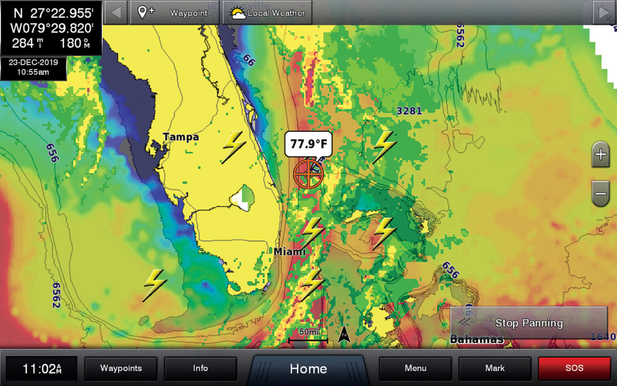 SiriusXM Marine Offshore Weather includes weather, wind and wave forecasts up to 48 hours.