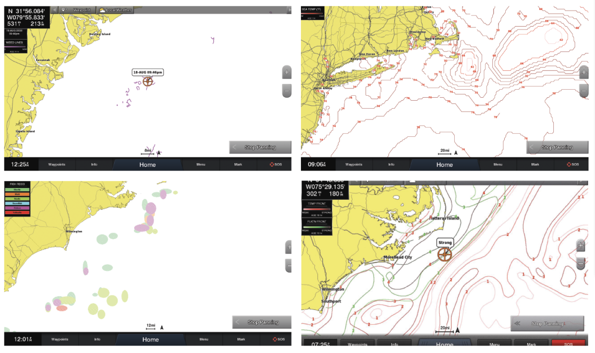 (Below, clockwise, from top right) Fish Mapping adds sea surface temperatires, a plankton concentation feature, and species and weed line finder features.