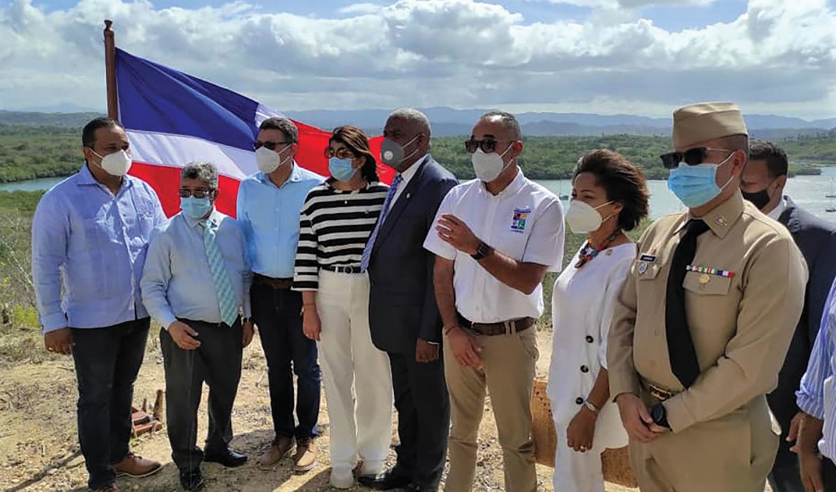 Dominican officials with authority over aspects of Luperon Bay's management gathered recently for a photo op near the proposed development.