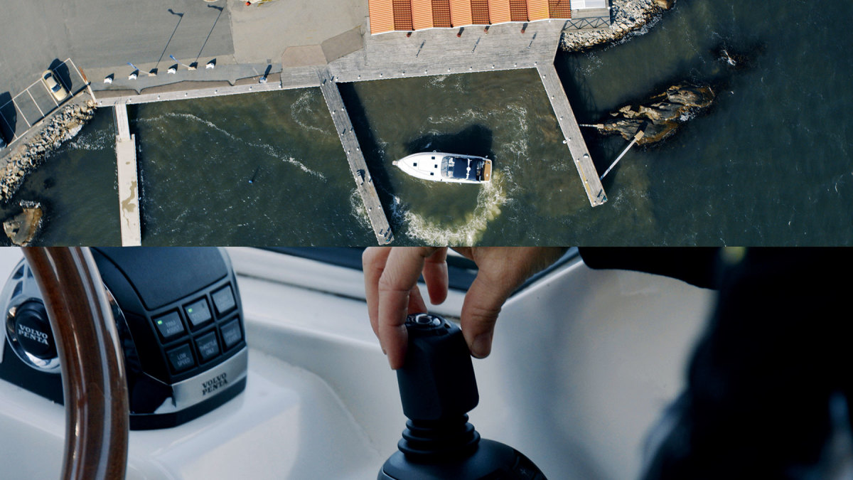 GPS-based DynamicPositioning calculates how conditions impact drive angles and returns the boat to its intended course. Hands off the wheel: Assisted Docking works in concert with the IPS drives and joystick.