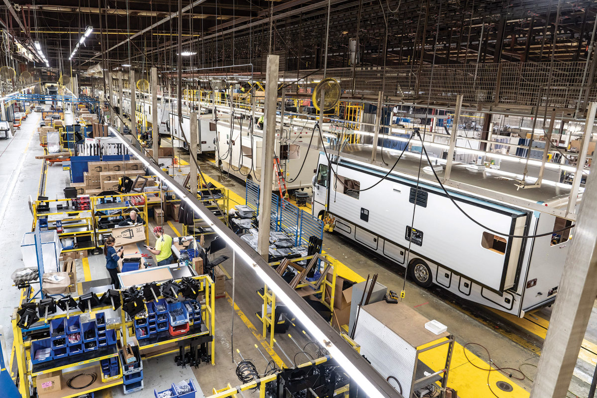 Winnebago's Forest City, Iowa, facility is the world's largest motor home manufacturing plant.