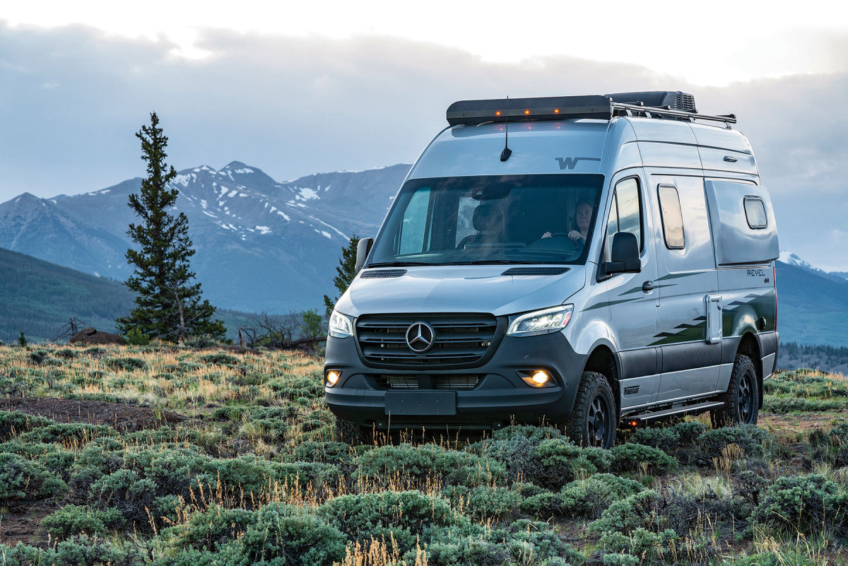 The Class B Revel is diesel-powered and built on a Mercedes-Benz Sprinter chassis. For off-grid  activities, it has two, 125-amp-hour LiFePO batteries, a hydronic heating system and 4WD capability.