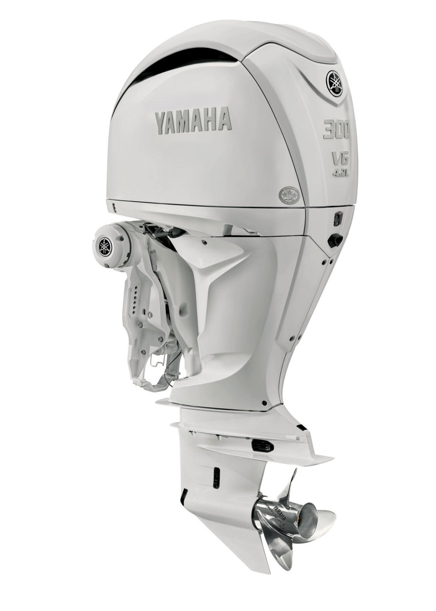 The new-gen F250 and F300 Offshore outboards are  offered with built-in or bolt-on Digital Electric Steering, as well as Thrust Enhancing Reverse Exhaust.