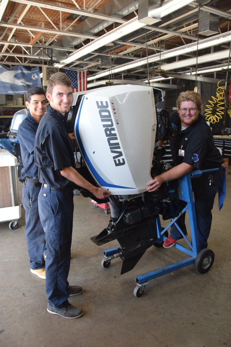 With the Evinrude outboards, students learn about current technology.