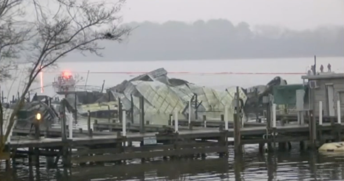 The fire at Jackson County Park Marina in Scottsboro, Ala., killed at least eight boaters. Photo: ABC 11