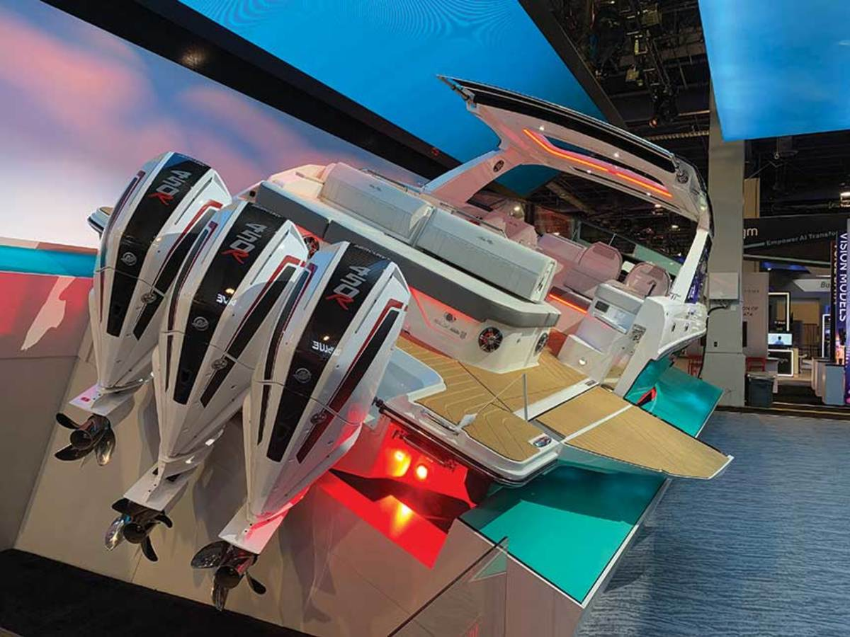 The outboard-powered boat's Fathom e-Power system replaces the gas genset with a lithium-ion battery system.