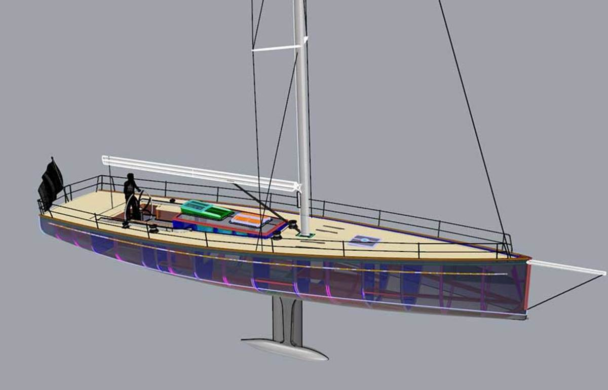 """Kelly Sturdy worked on the racing sloop Outlier.  """"We typically model the structure, joinery and systems to essentially build the boat on the computer."""""""