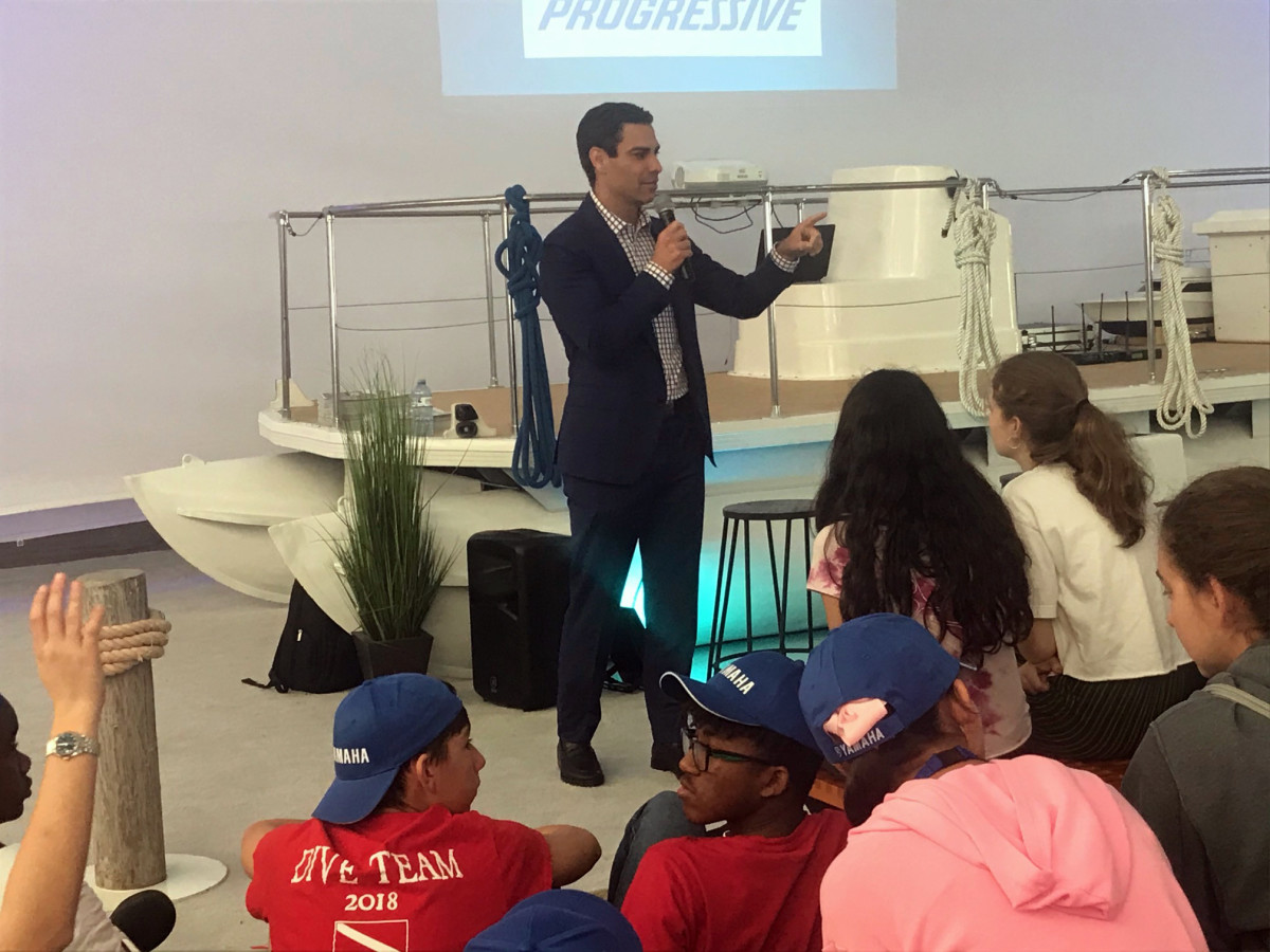 Miami Mayor Francis Suarez addresses students during Career Day at the Miami International Boat Show.