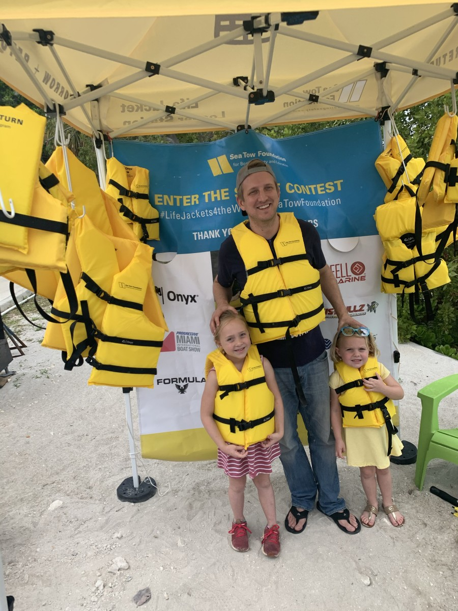 Sea Tow provided life jackets for kids and parents at the Miami boat show.
