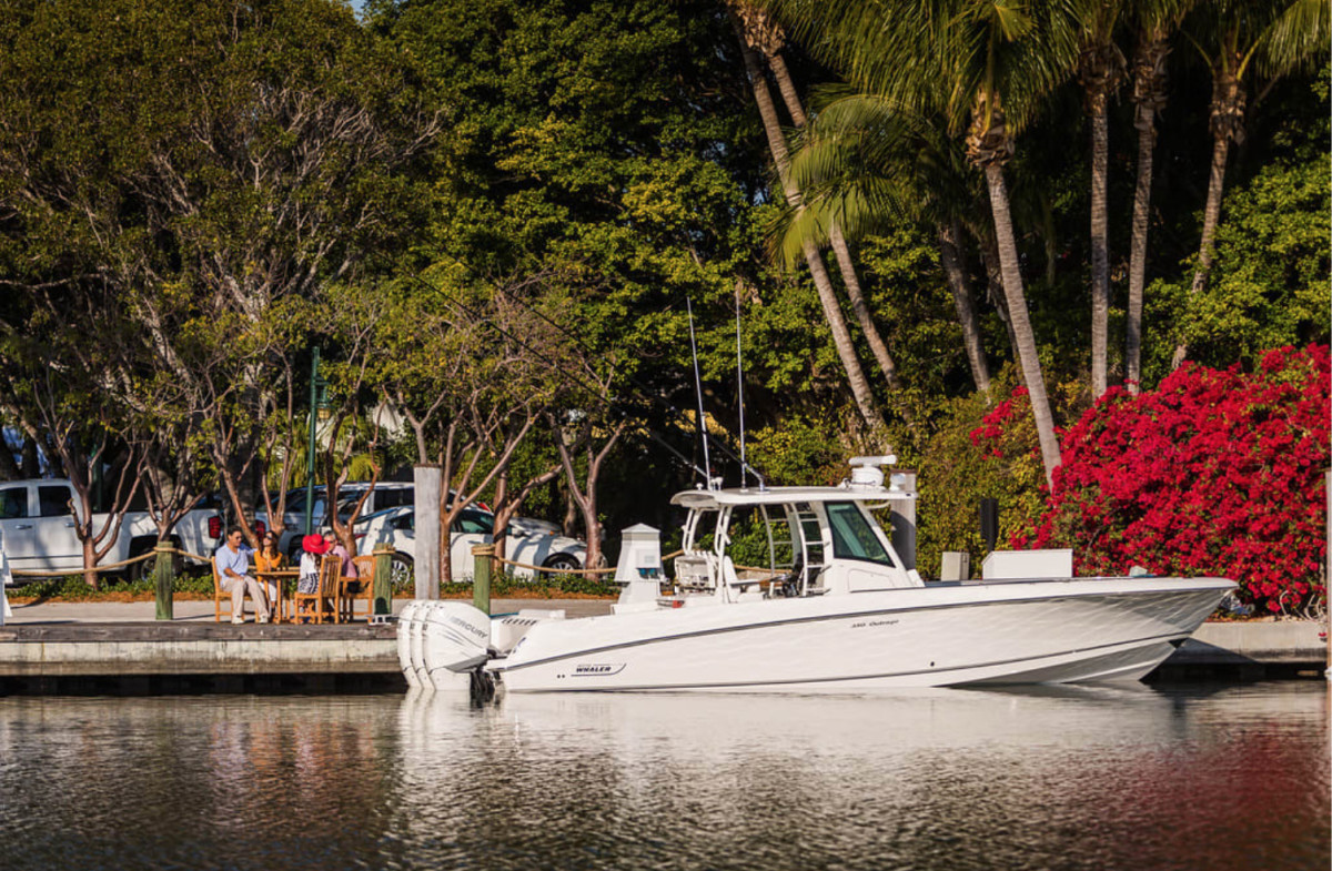 Raymarine and Mercury partnered to debut assisted docking in February 2019. Eric Colby photo