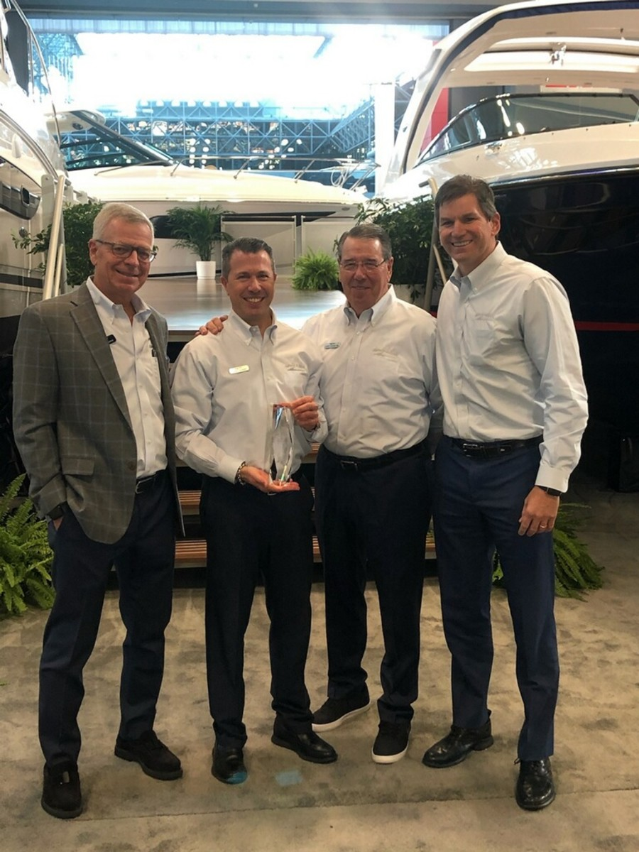 From left to right: MarineMax chief revenue officer Chuck Cashman; MarineMax regional vice president Larry Russo Jr.; MarineMax Russo senior vice president Larry Russo Sr.; and operations vice president Kyle Langbehn.